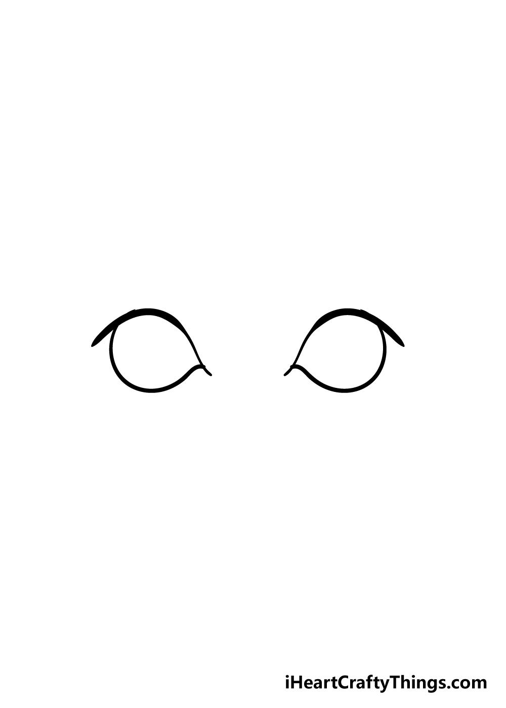 cartoon eyes drawing step 2