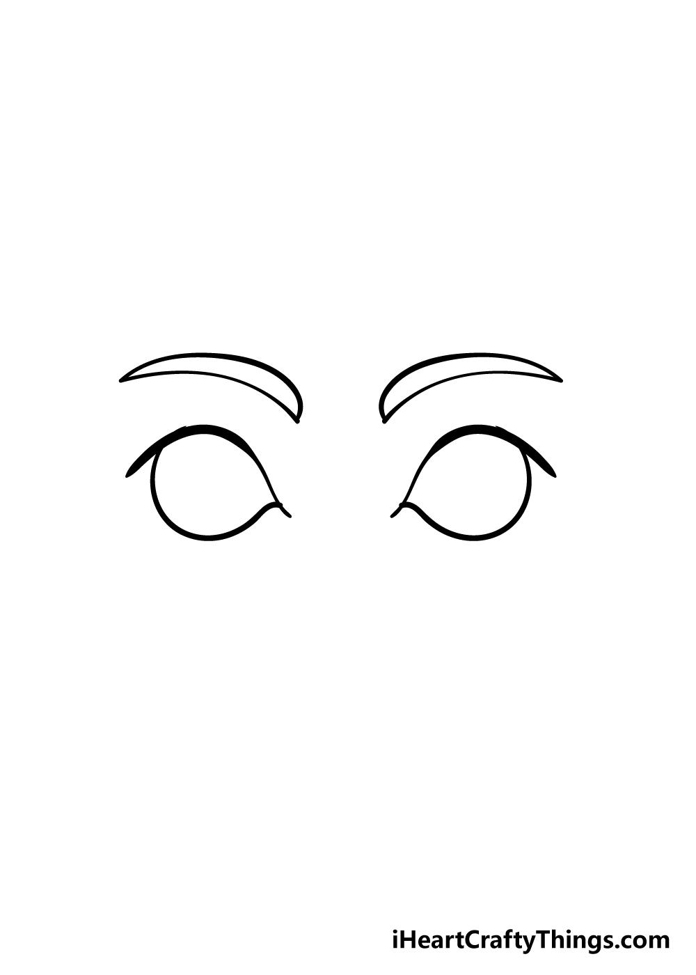 cartoon eyes drawing step 3