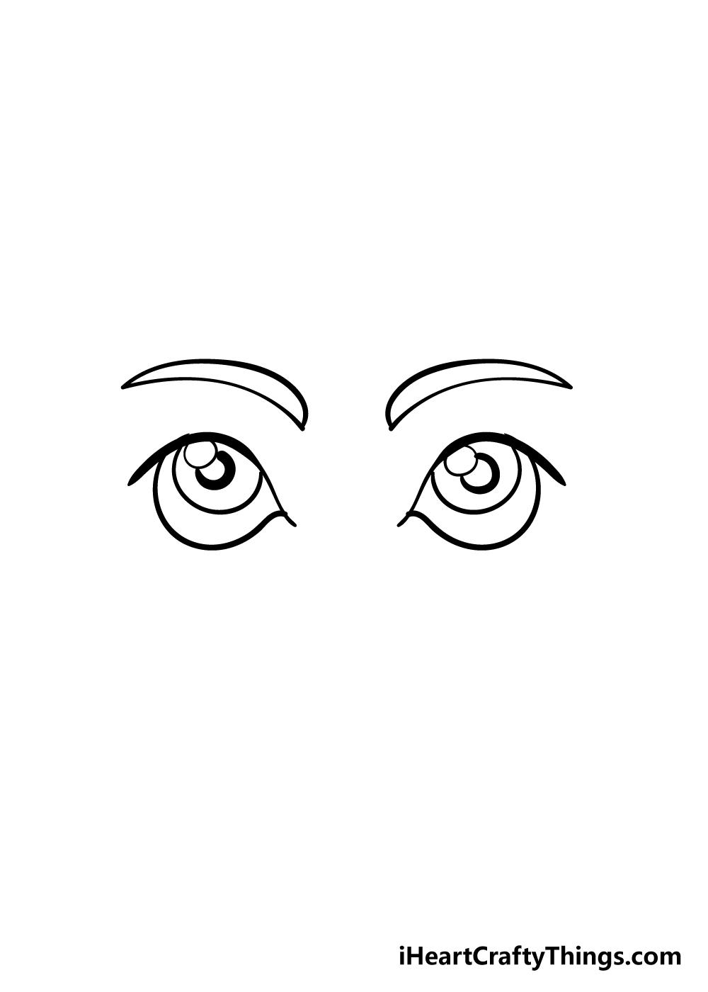 cartoon eyes drawing step 4