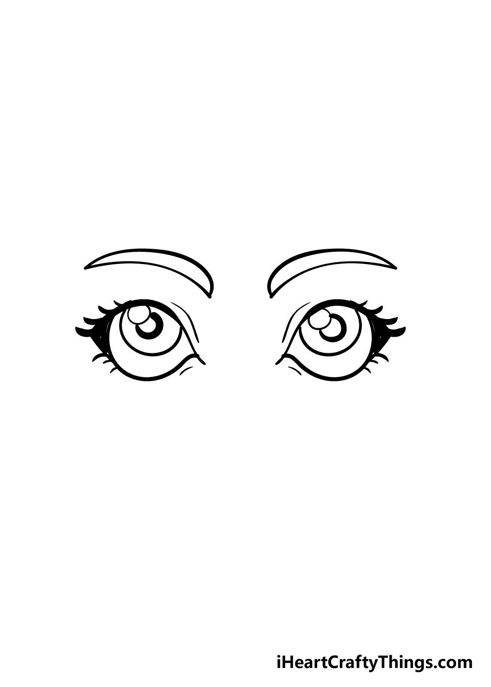 cartoon eyes drawing step 6