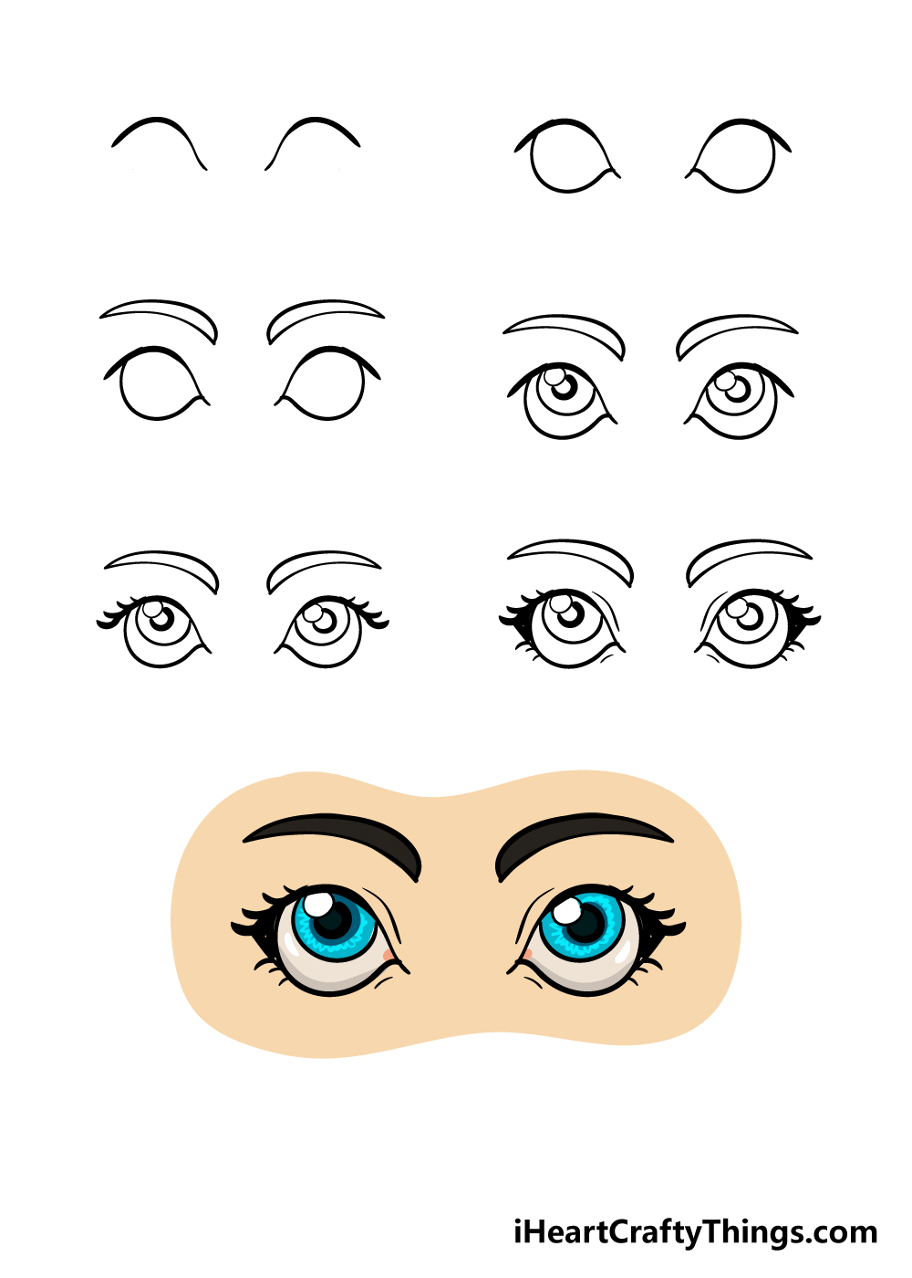 how to draw eyes in 7 steps