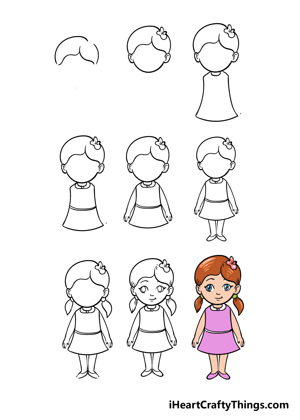 how to draw cartoon girl in 9 steps