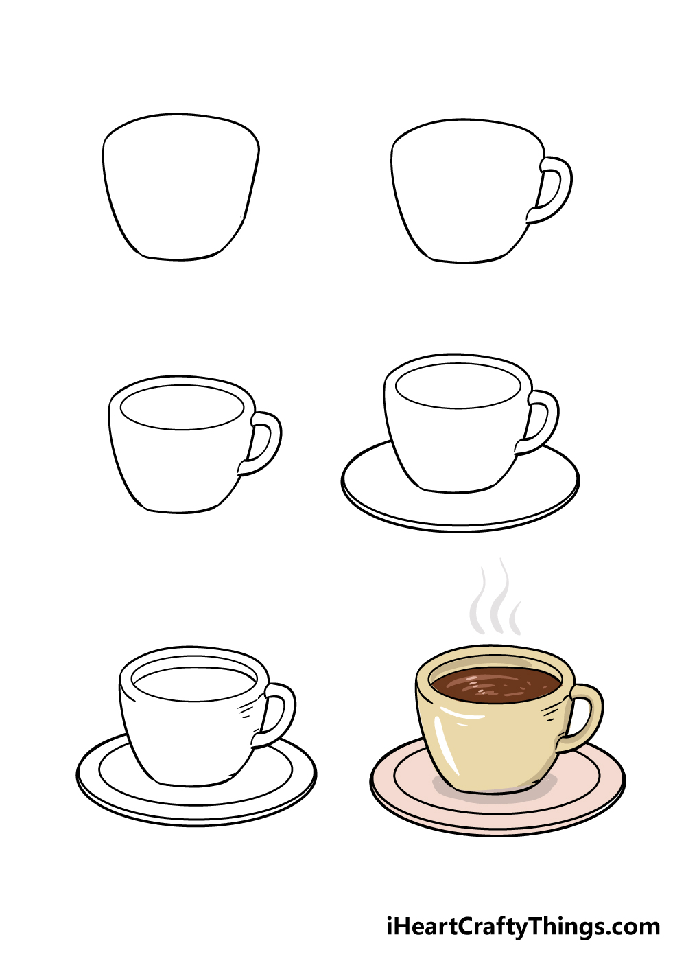 how to draw coffee cup in 6 steps