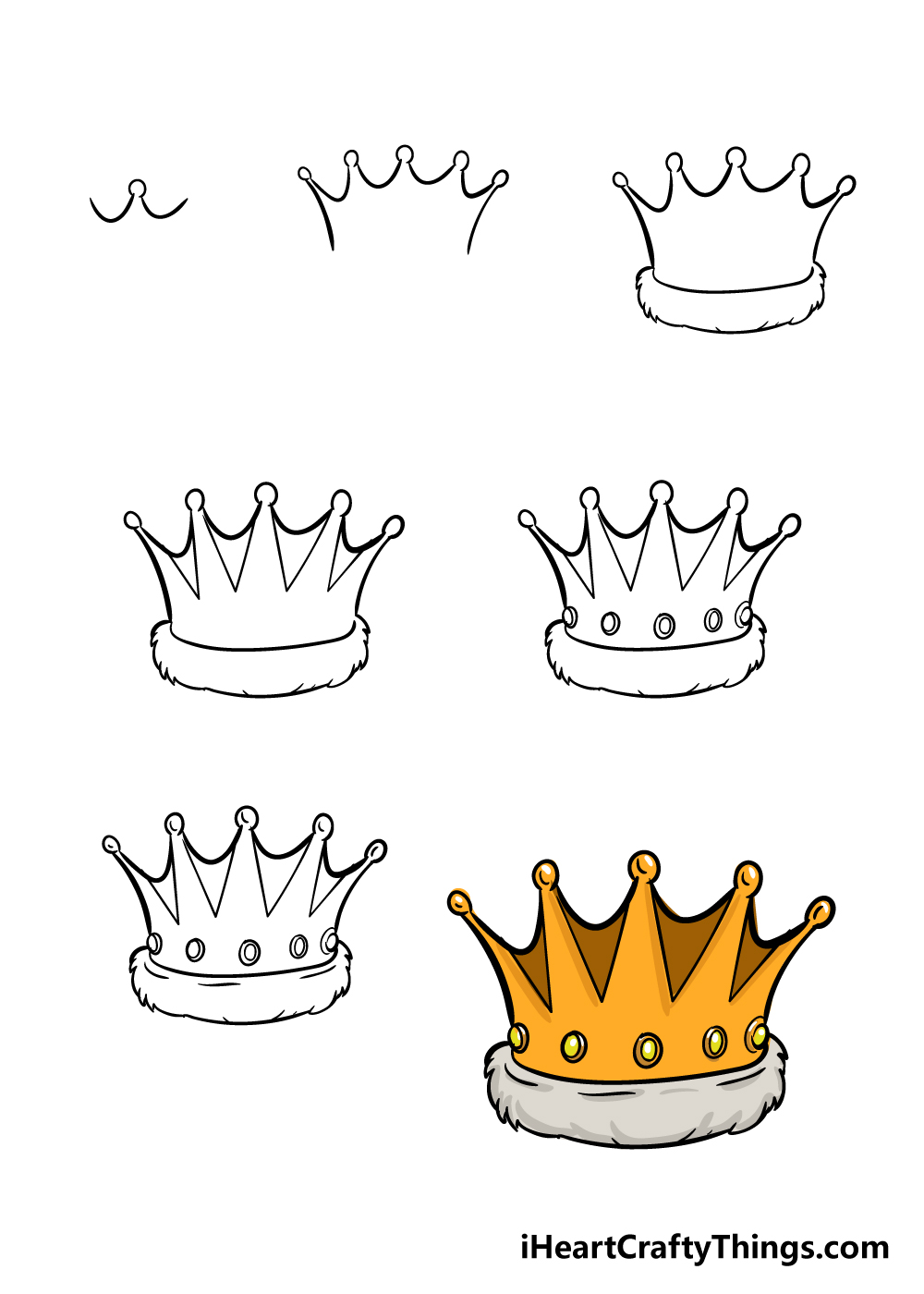 how to draw crown in 7 steps