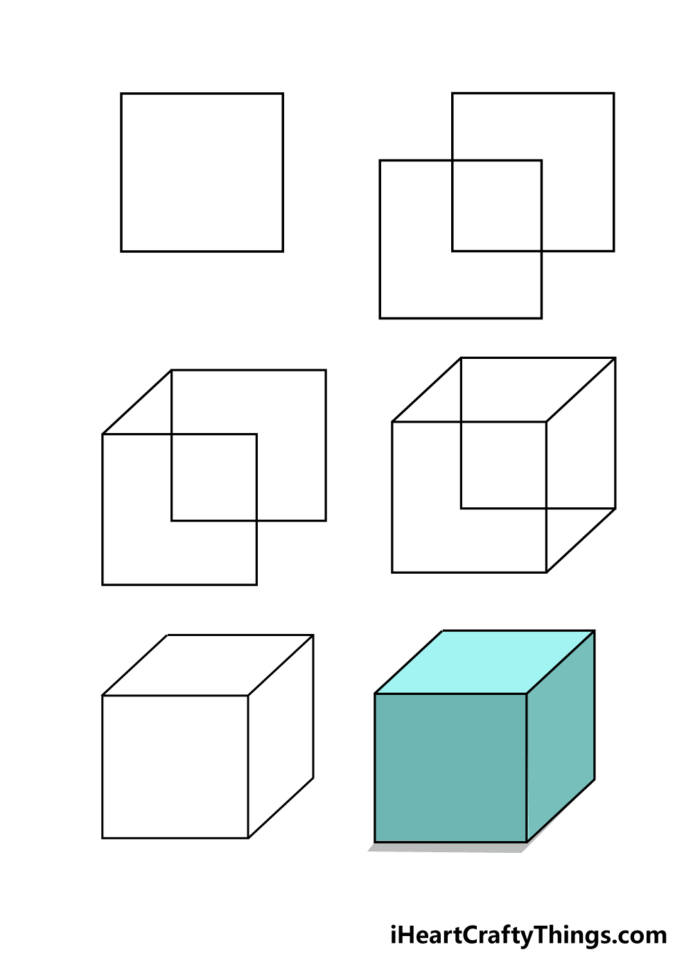 how to draw a cube in 6 steps
