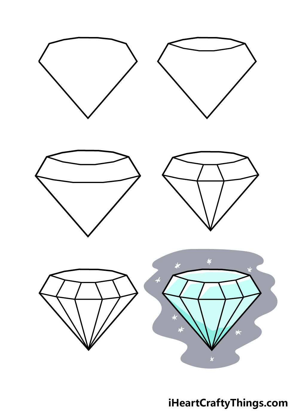 how to draw diamond in 6 steps