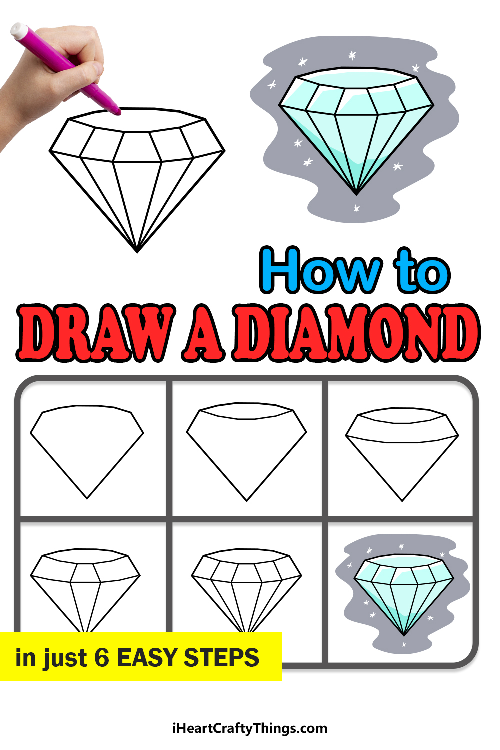 how to draw a diamond in 6 easy steps