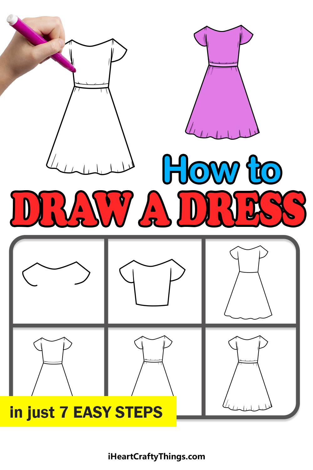 how to draw a dress in 7 easy steps