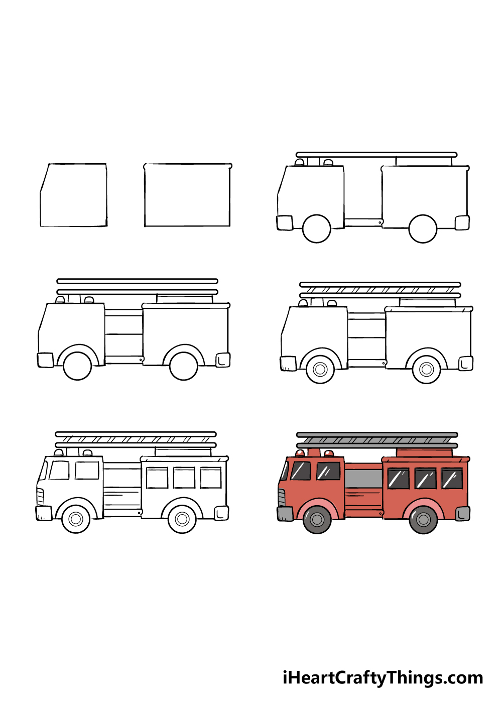 how to draw fire truck in 6 steps