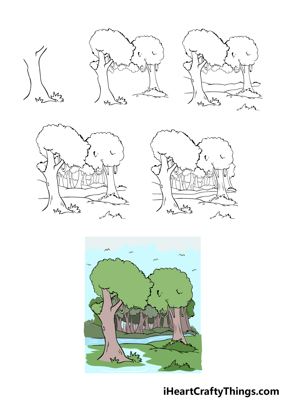 how to draw forest in 6 steps