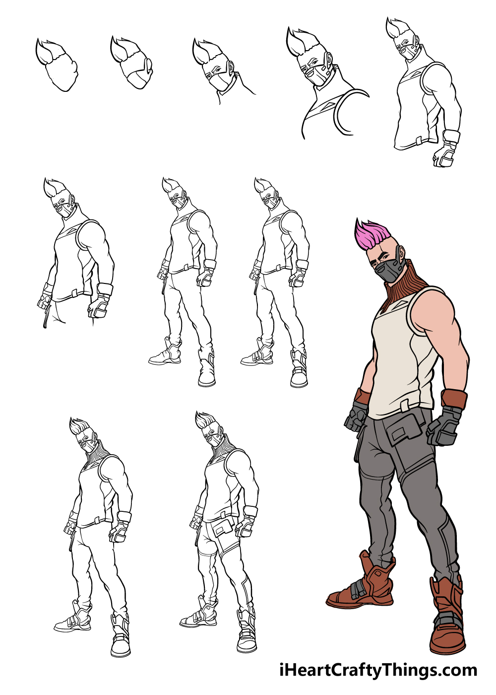 how to draw fortnite in 11 steps