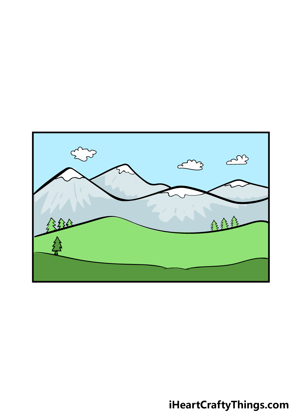 Mountains Drawing   How To Draw Mountains Step By Step