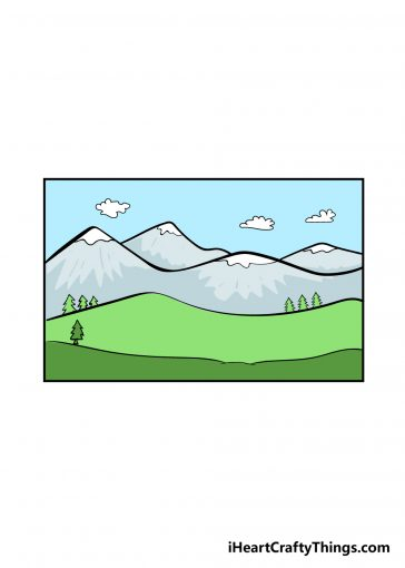 how to draw mountain image