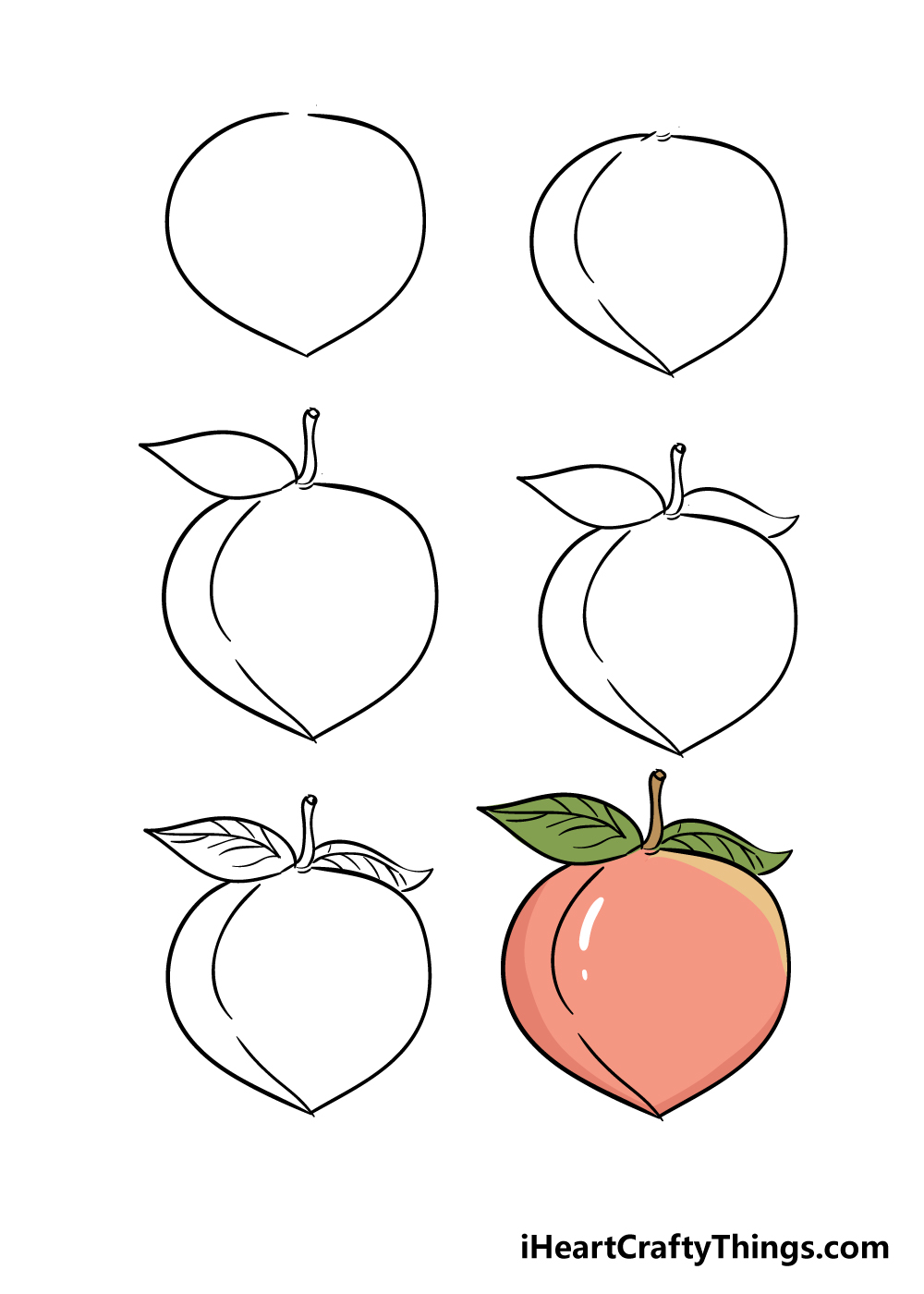 how to draw peach in 6 steps