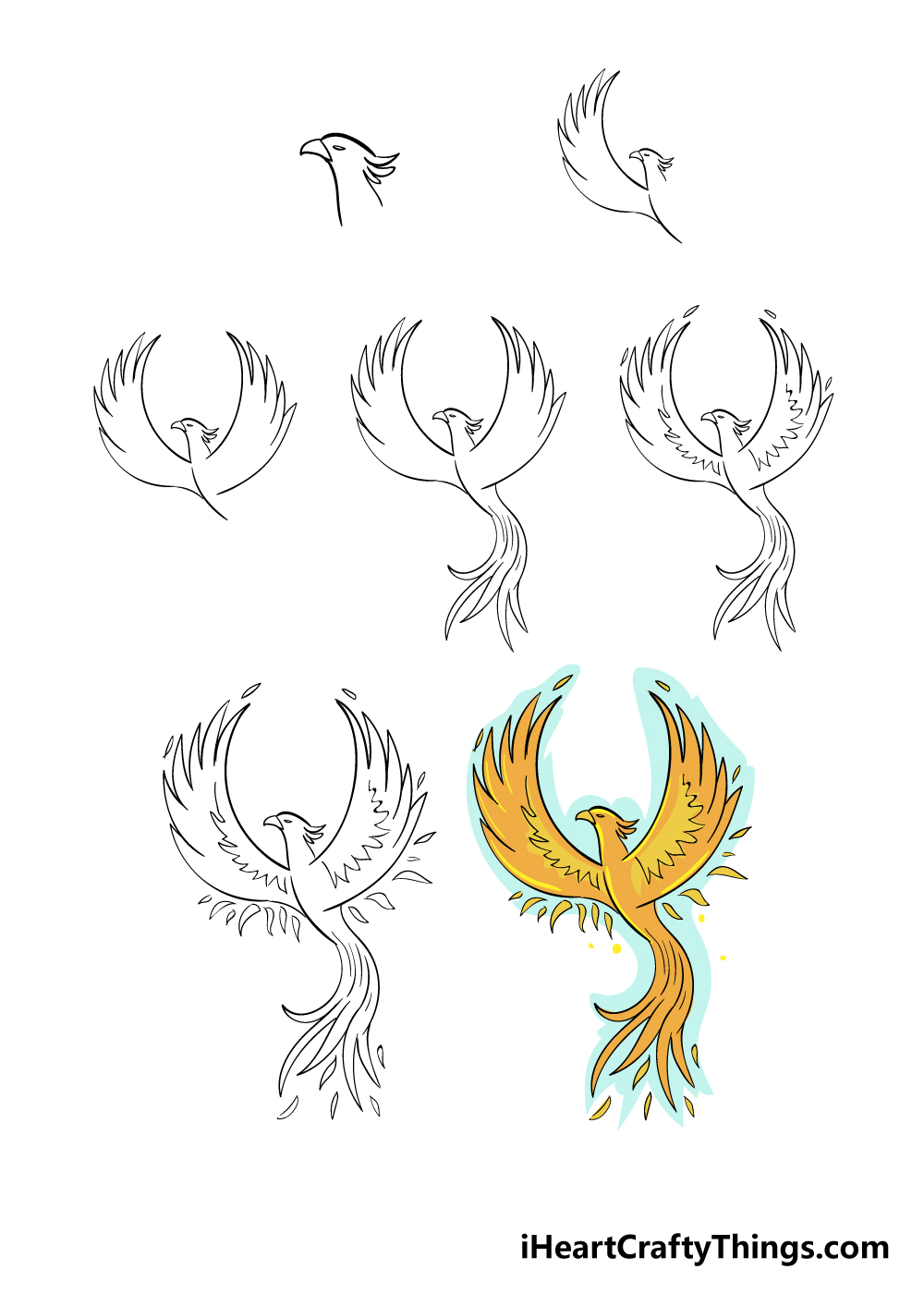 how to draw phoenix in 7 steps