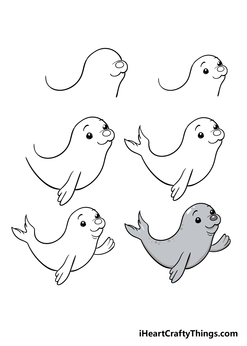 how to draw seal in 6 steps