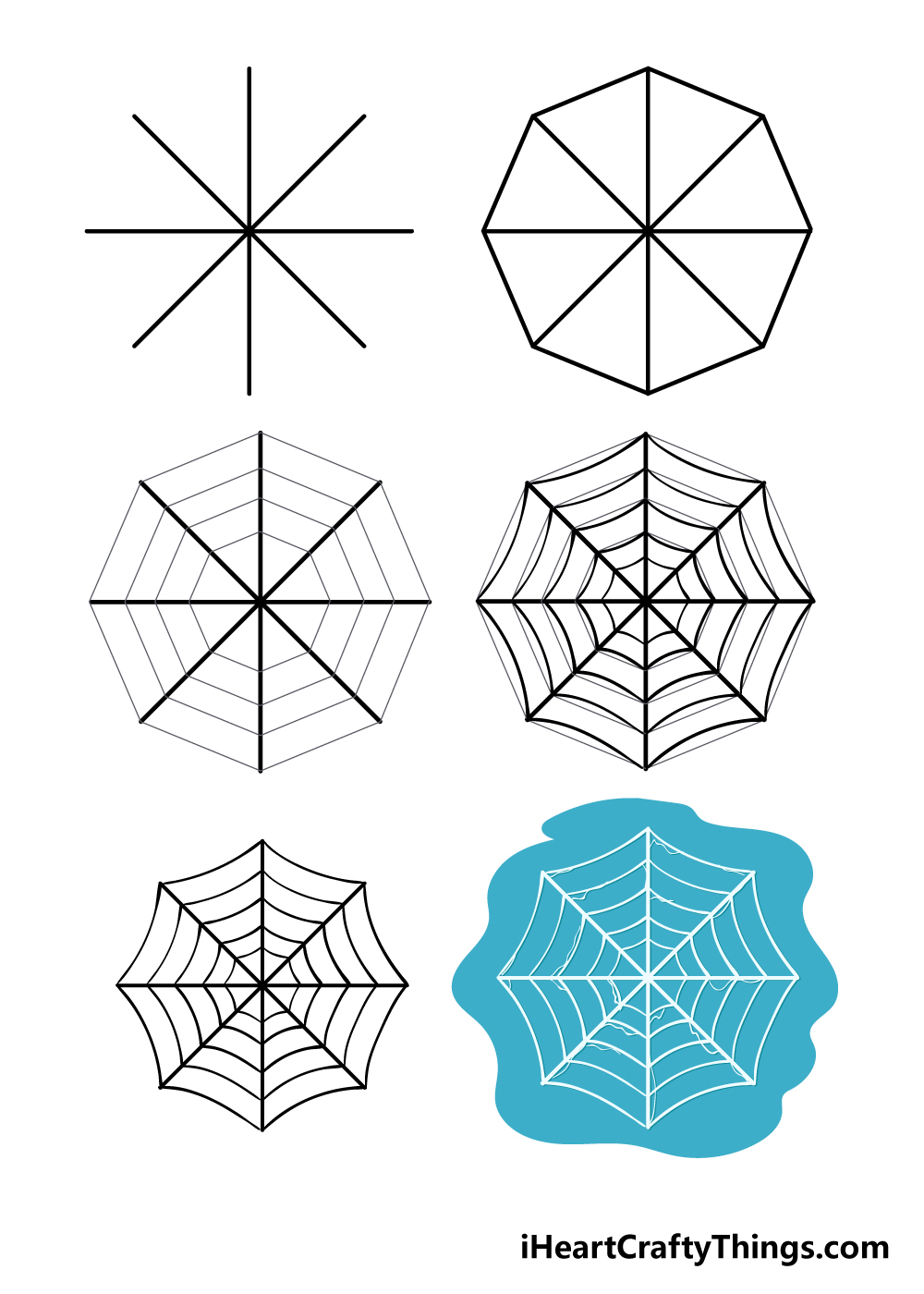 how to draw spiderweb in 6 steps