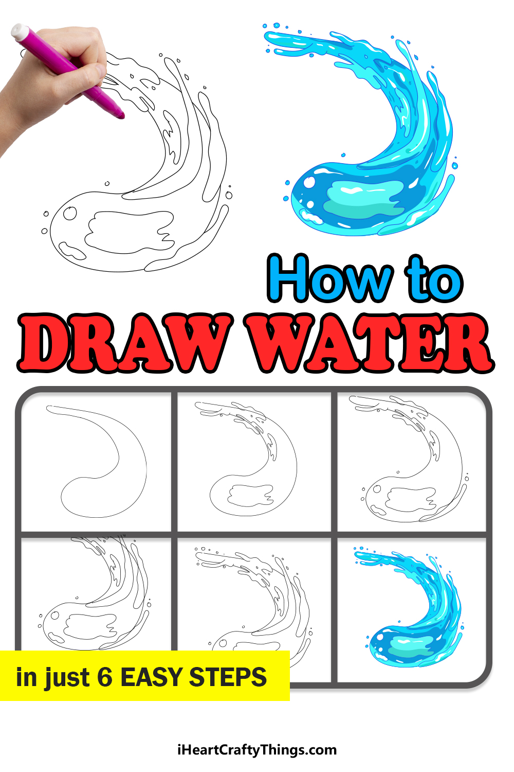 how to draw water in 6 easy steps