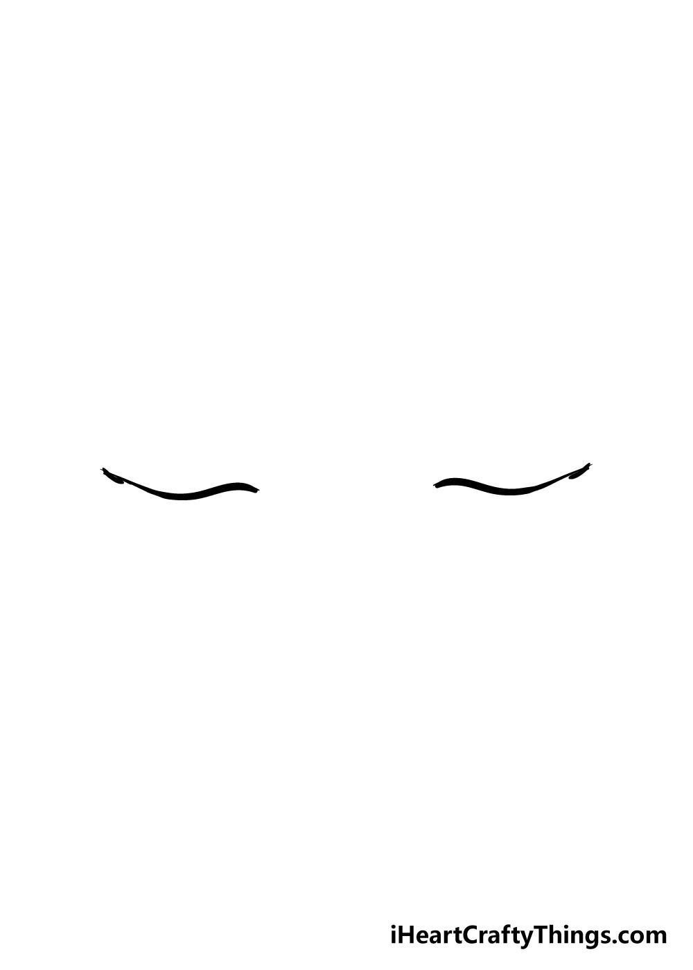closed eyes drawing step 1