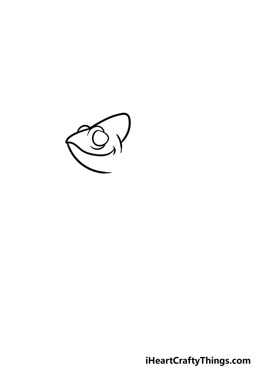drawing a chameleon step 1