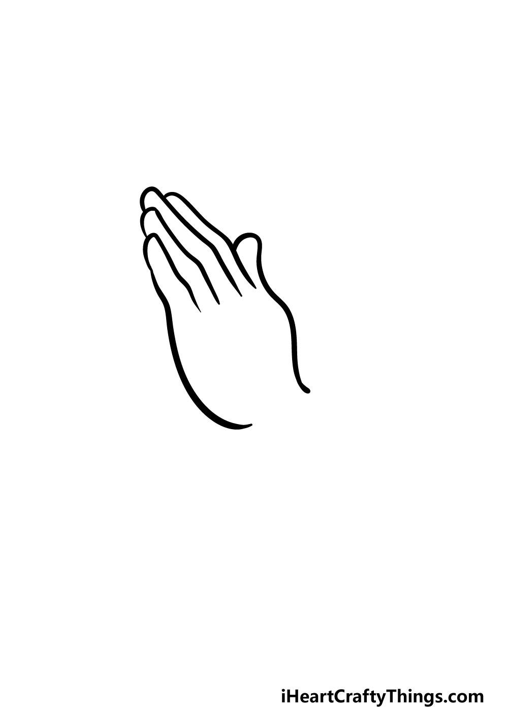 drawing praying hands step 2
