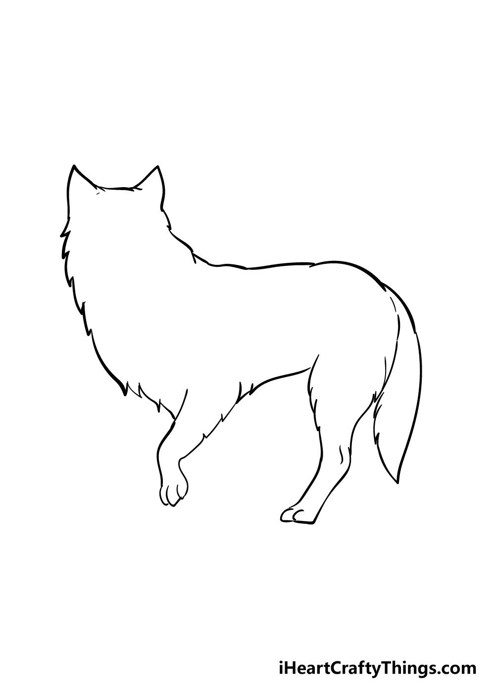 arctic fox drawing step 2