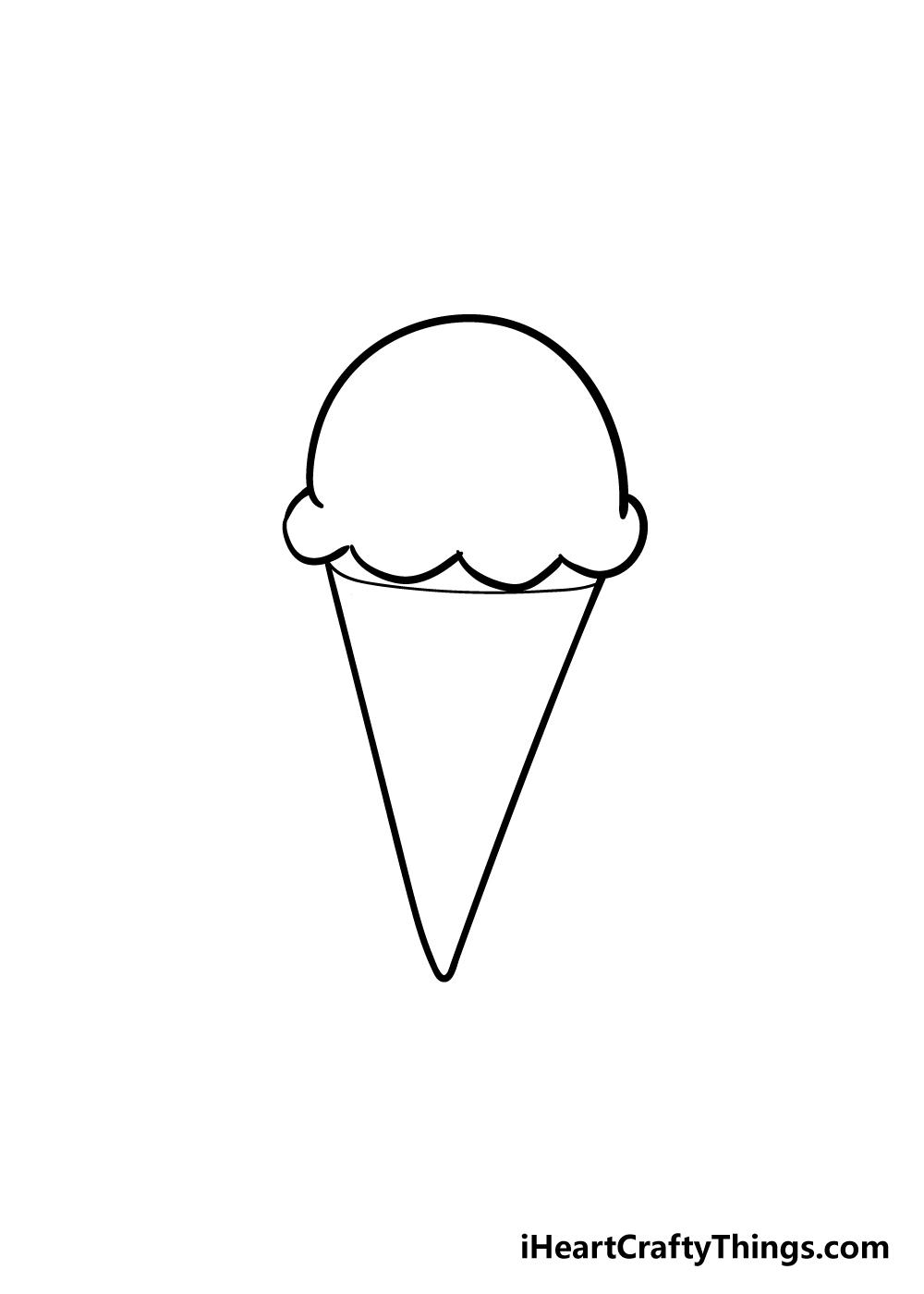 ice cream cone drawing step 2