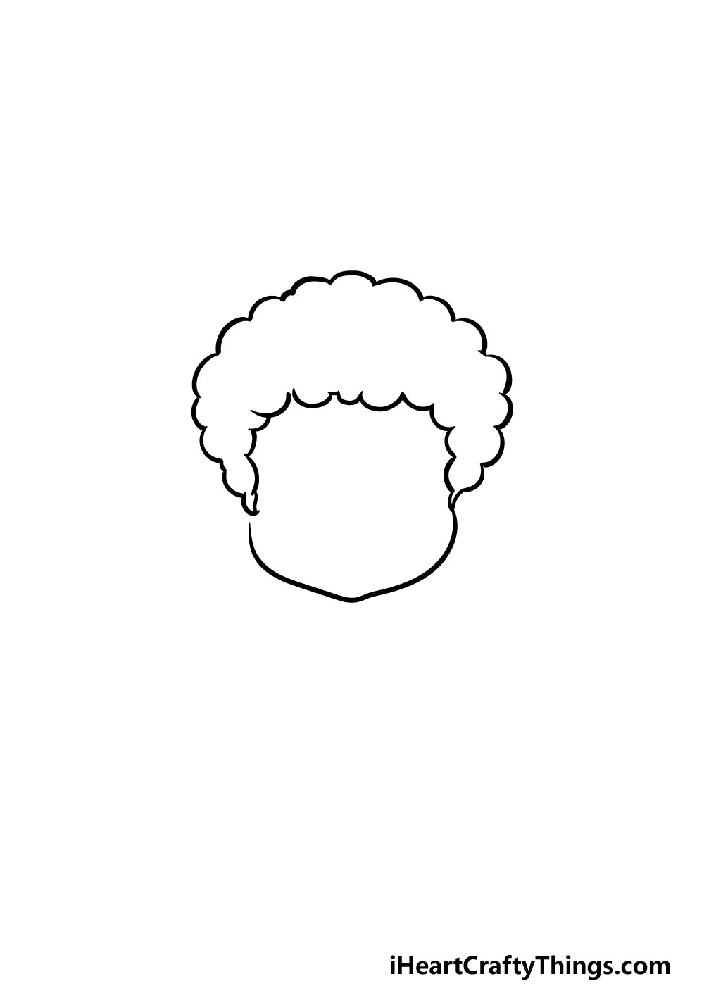 drawing curly male hair step 2