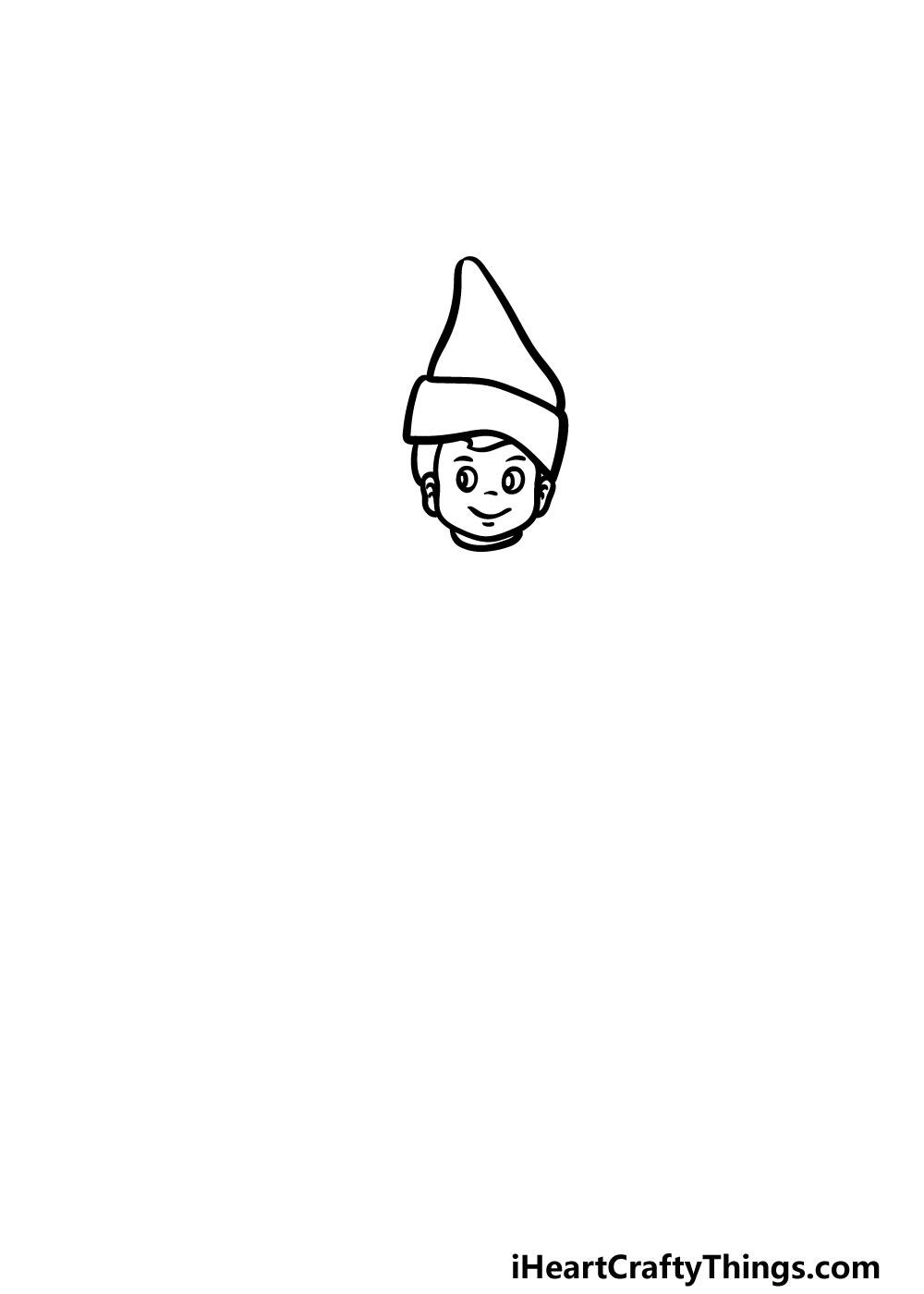 drawing an elf on a shelf step 2
