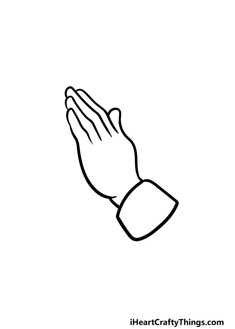 drawing praying hands step 3