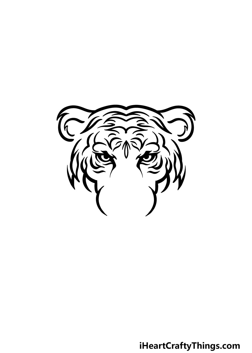 drawing tiger face step 3
