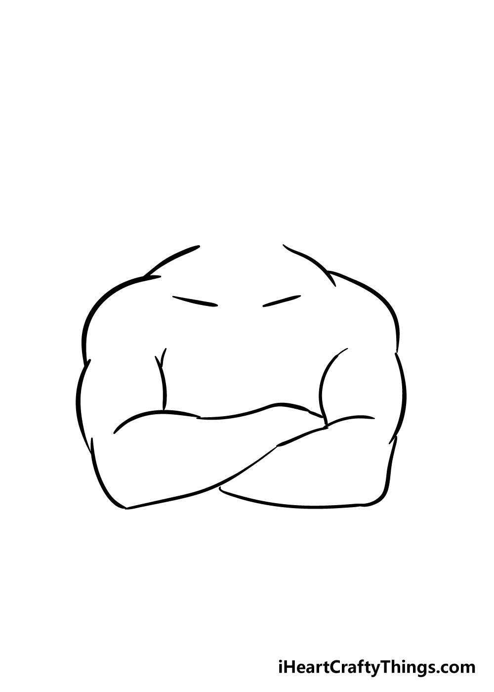 crossed arms drawing step 3