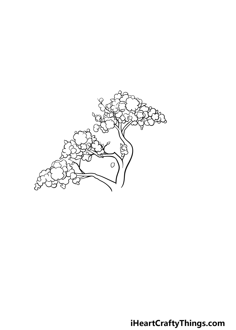 drawing a cherry blossom tree step 3