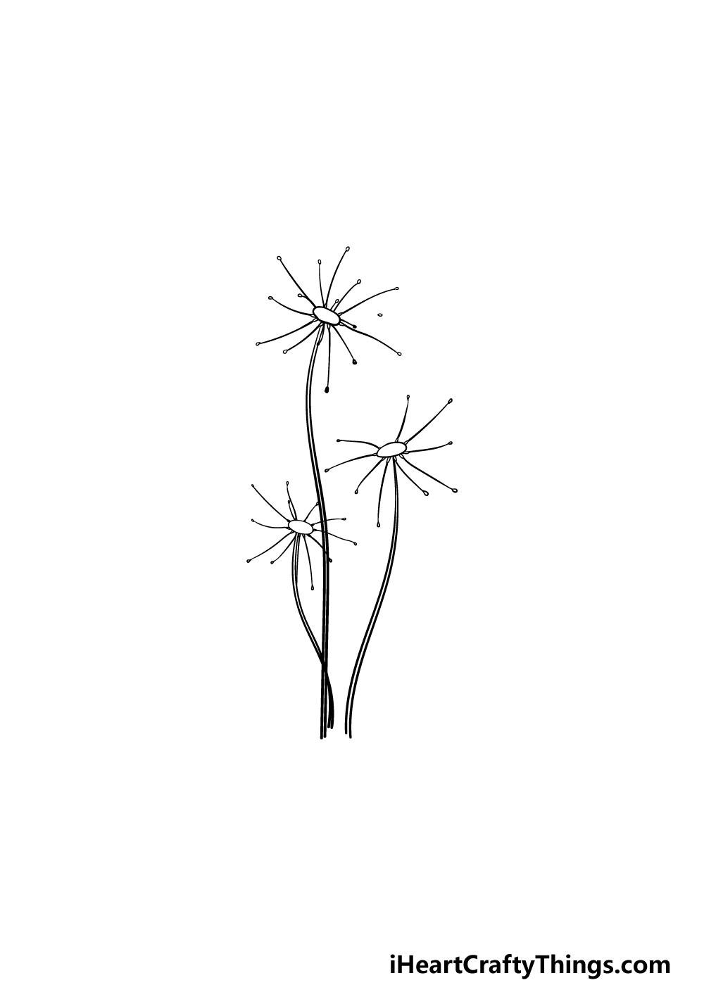 drawing a dandelion step 3