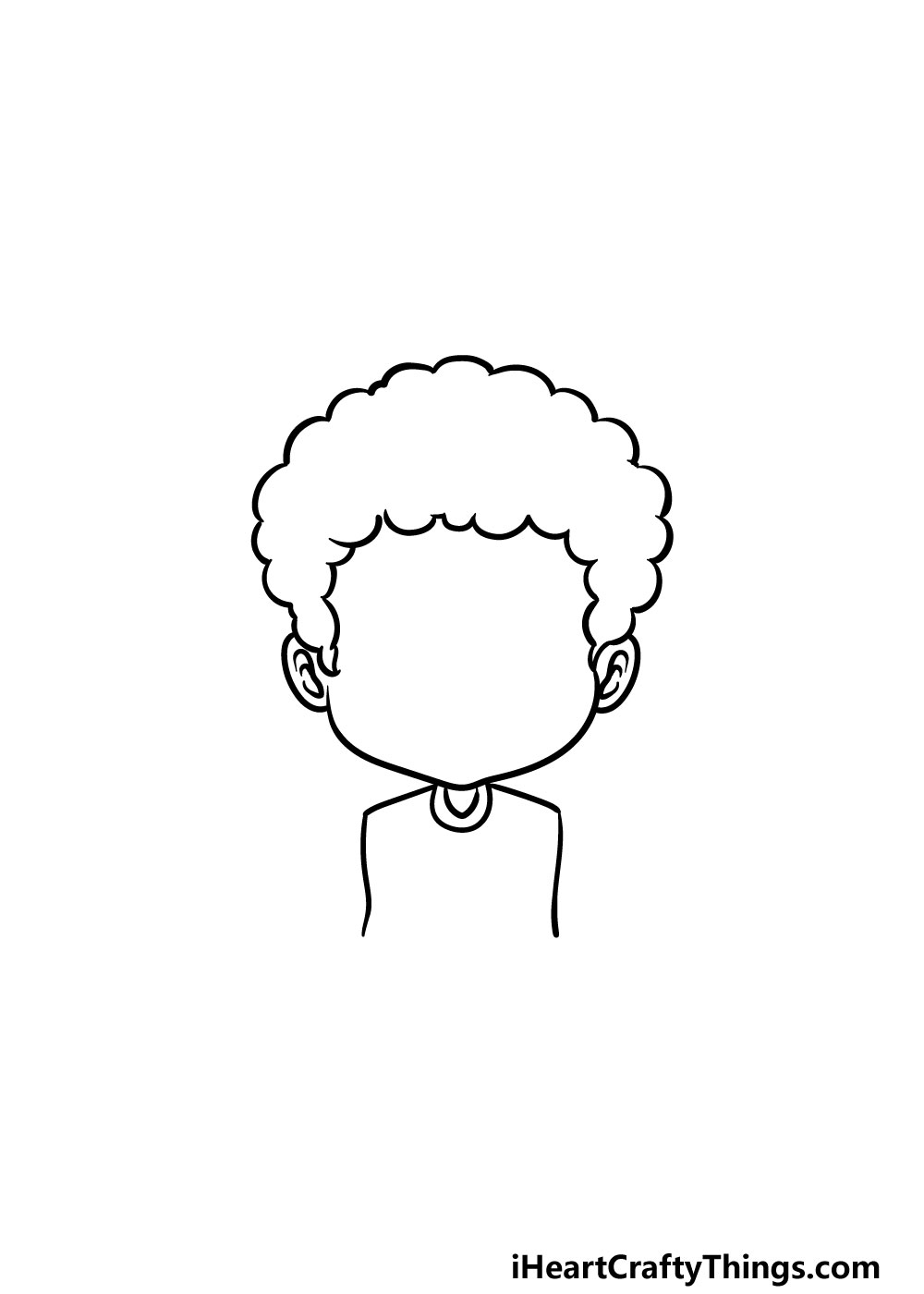 drawing curly male hair step 3