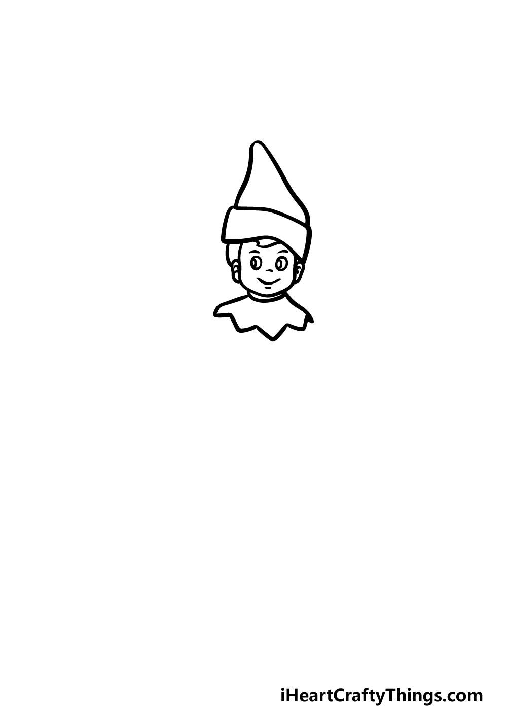 drawing an elf on a shelf step 3