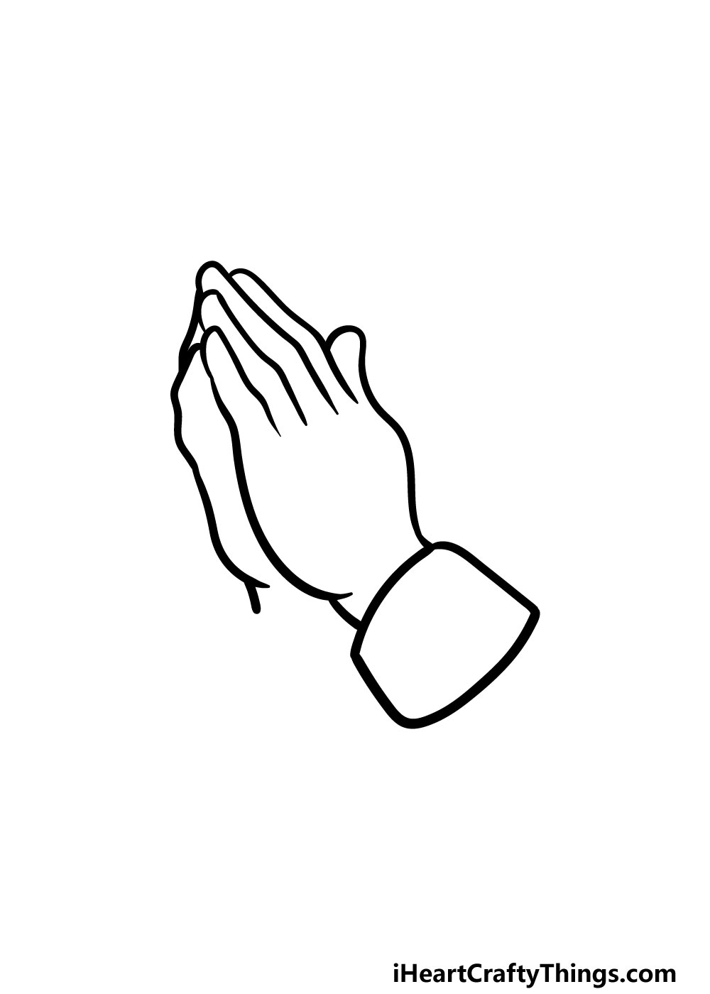 drawing praying hands step 4