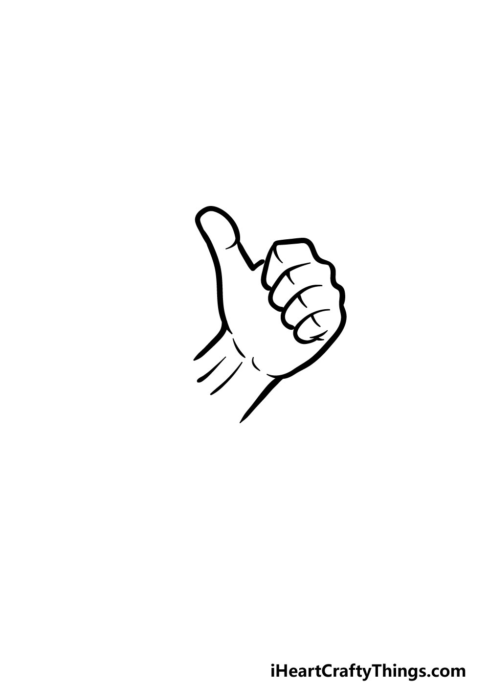 drawing thumbs up step 4