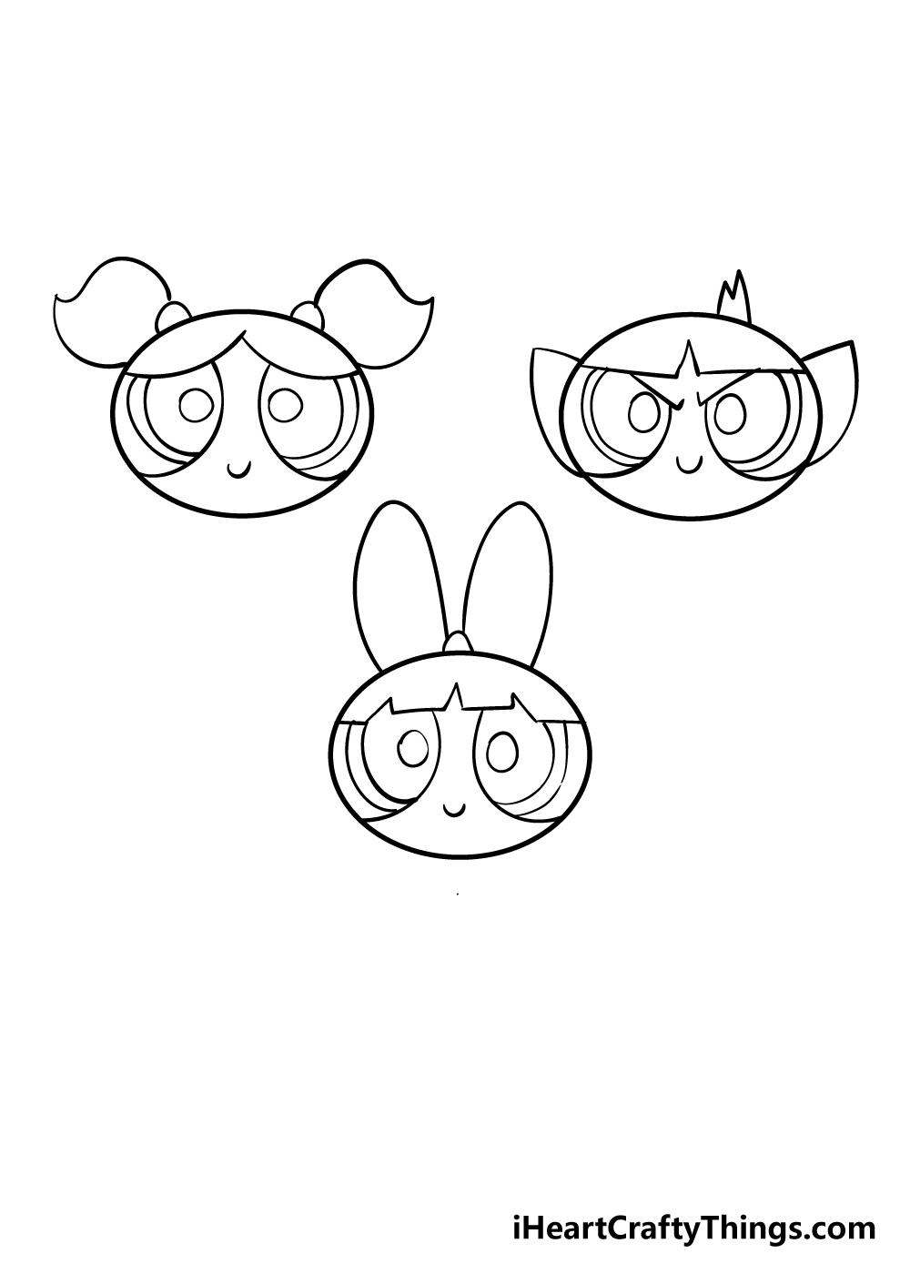 powerpuff girls drawing step 4
