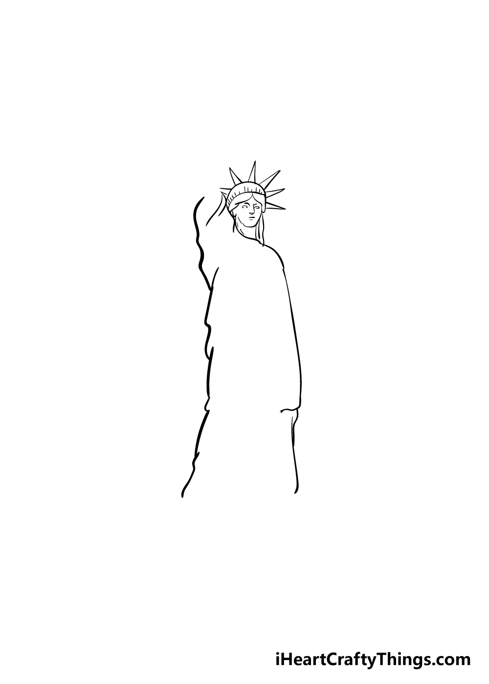 drawing the Statue of Liberty step 4