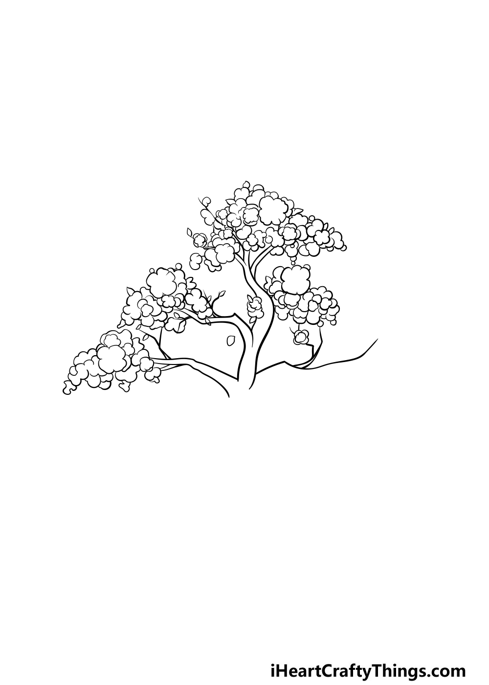 drawing a cherry blossom tree step 4