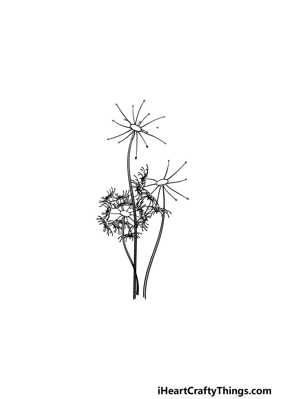 drawing a dandelion step 4