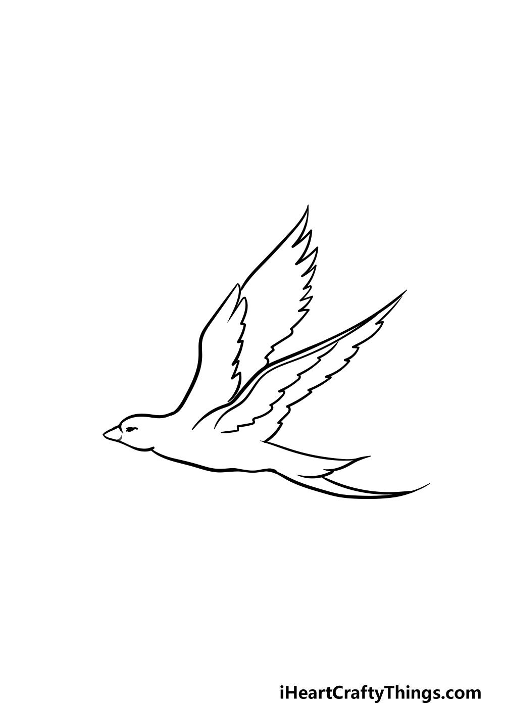dibujando un pájaro volador paso 4