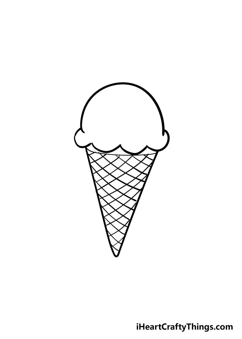 ice cream cone drawing step 4