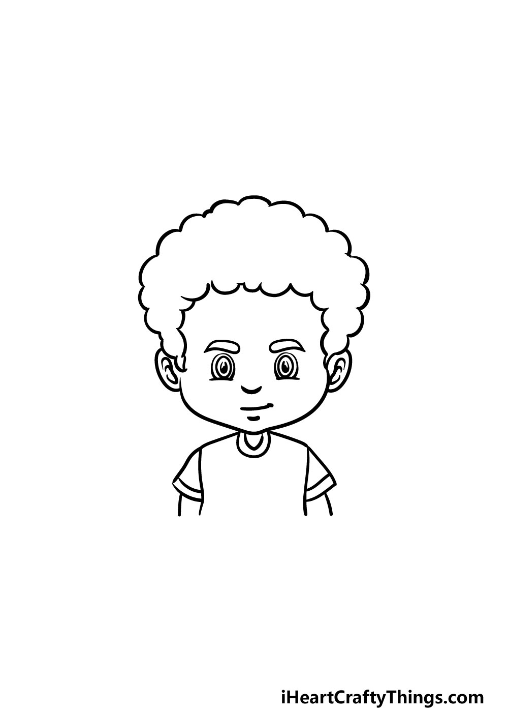 drawing curly male hair step 4