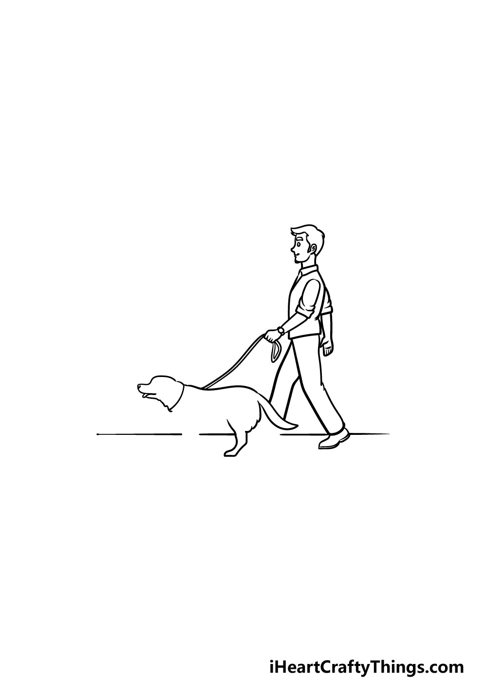drawing a man with a dog step 4