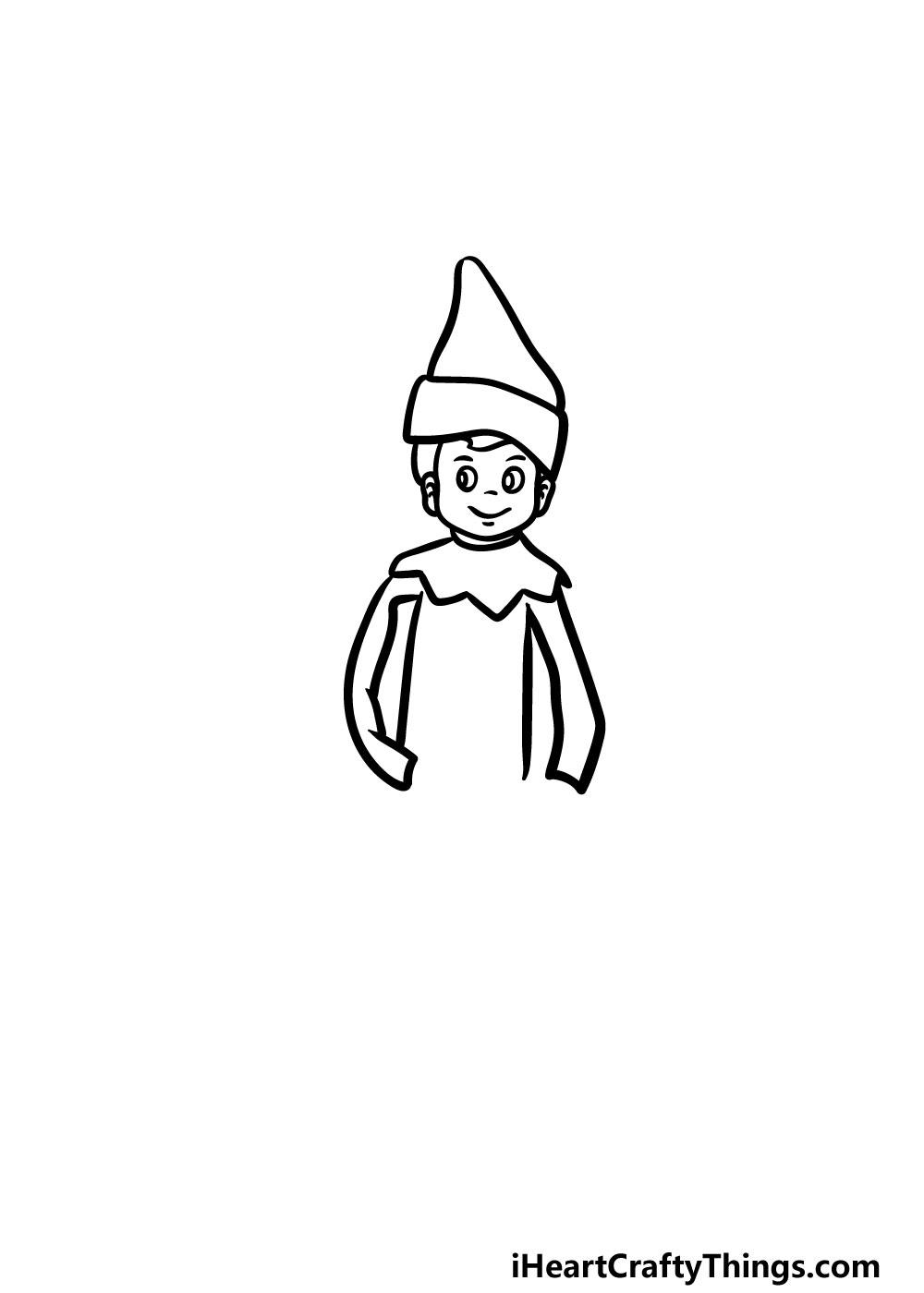 drawing an elf on a shelf step 4