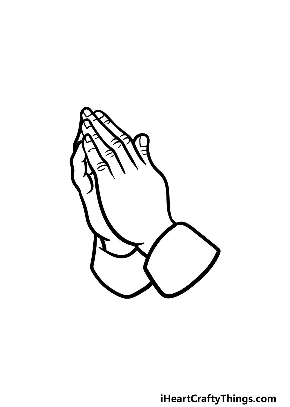 drawing praying hands step 5