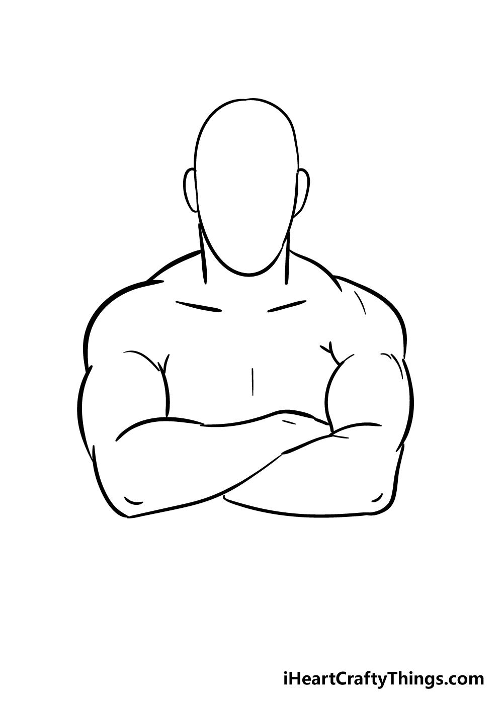 crossed arms drawing step 5