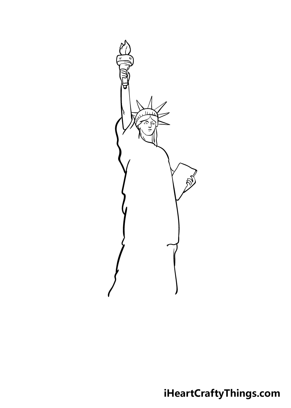 drawing the Statue of Liberty step 5
